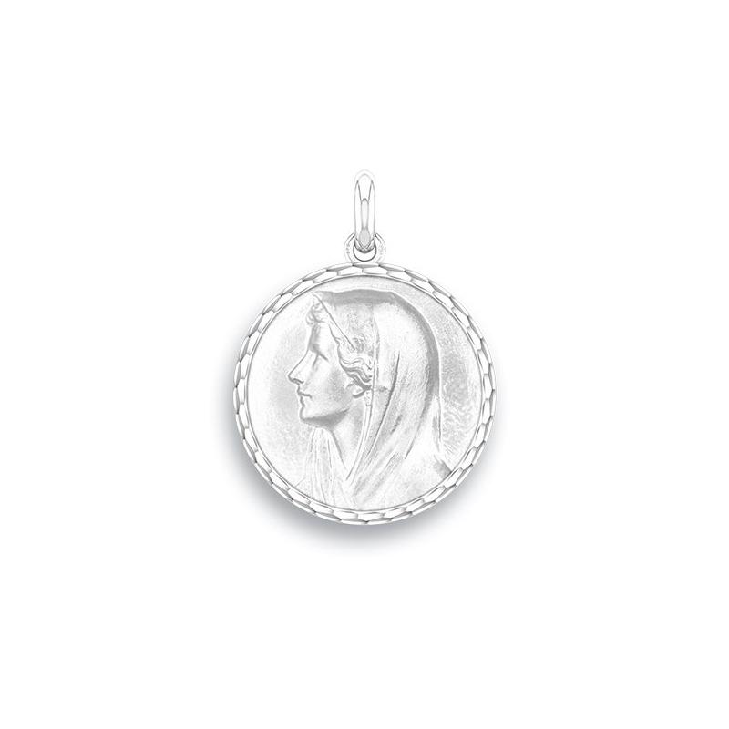 Médaille Baptême Naissance Or blanc , Vierge Au Voile