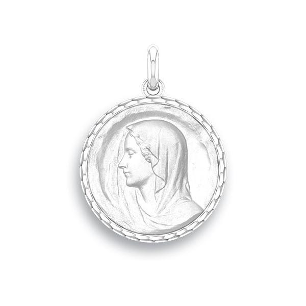 medaille bapteme naissance or blanc 17 mm vierge regina diveene joaillerie