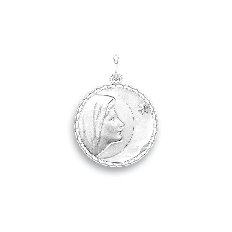 Médaille Baptême Naissance Or blanc , Vierge de Bethléem