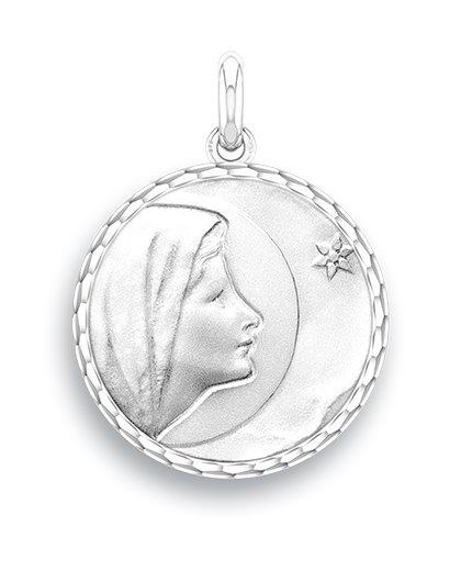 medaille bapteme naissance or blanc 17 mm vierge de bethleem diveene joaillerie
