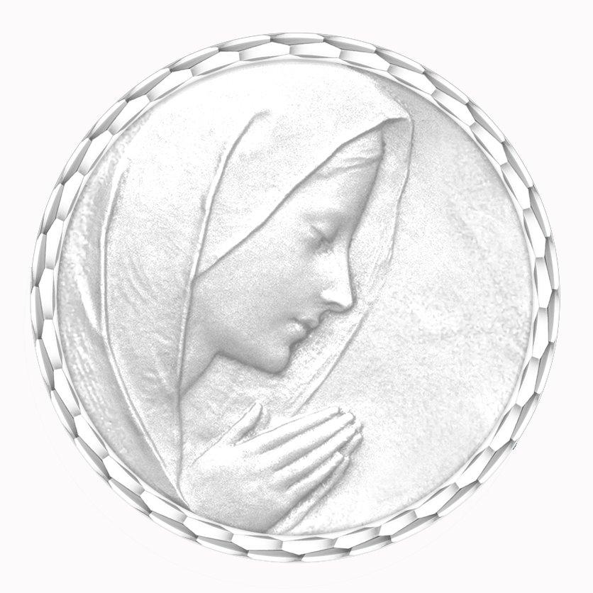 medaille bapteme naissance or blanc 17 mm vierge en priere diveene joaillerie