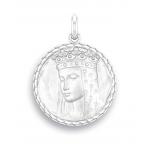 medaille bapteme naissance or blanc 17 mm vierge au etoiles diveene joaillerie