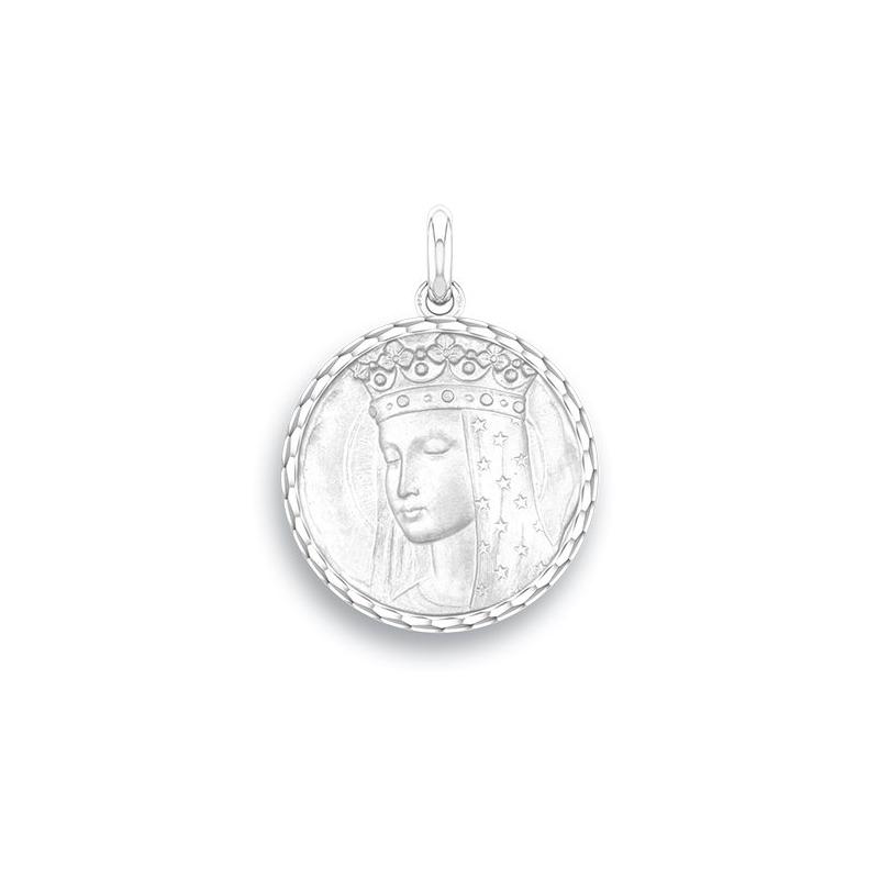 Médaille Baptême Naissance Argent , Vierge Aux Etoiles