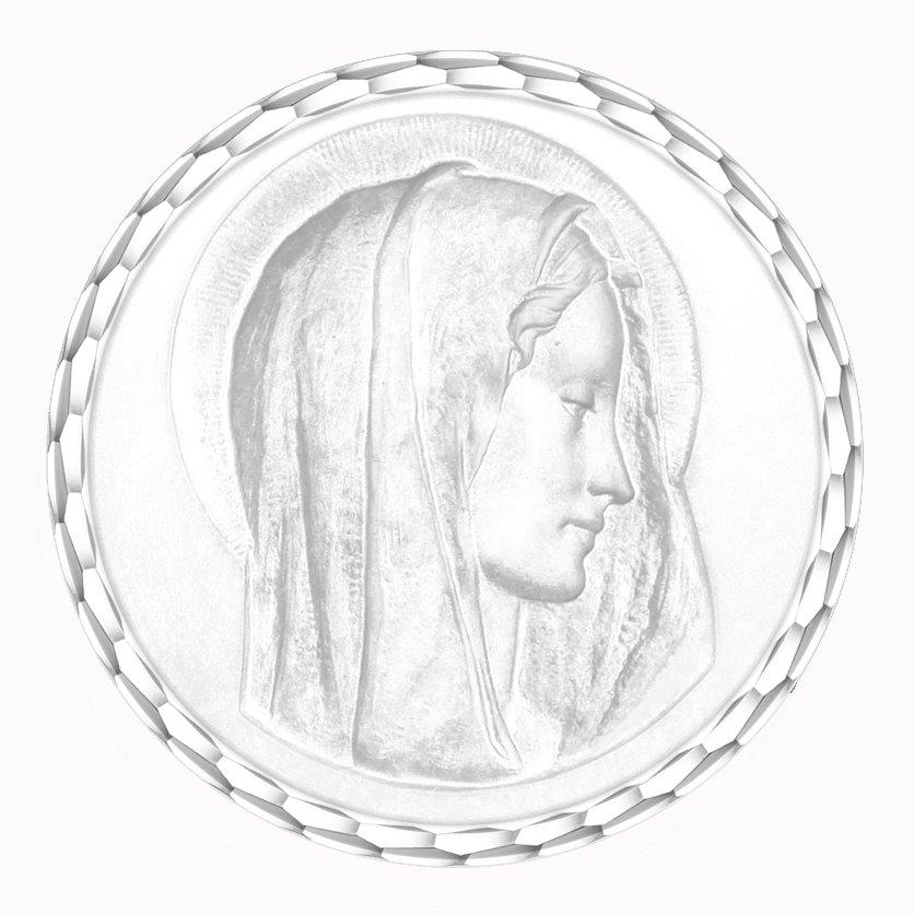 medaille bapteme naissance or blanc 17 mm virgo dulcis diveene joaillerie