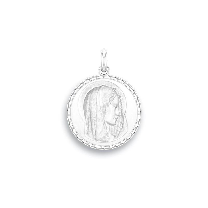 Médaille Baptême Naissance Or blanc , Virgo Dulcis