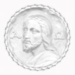 medaille bapteme naissance or blanc 17 mm christ des catacombes diveene joaillerie