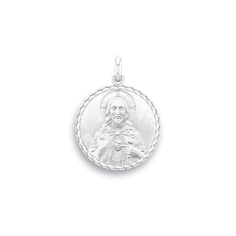 Médaille Baptême Naissance Or blanc , Christ Sacré Coeur