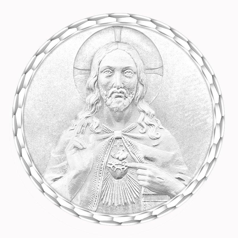 medaille bapteme naissance argent 17 mm christ sacre coeur diveene joaillerie