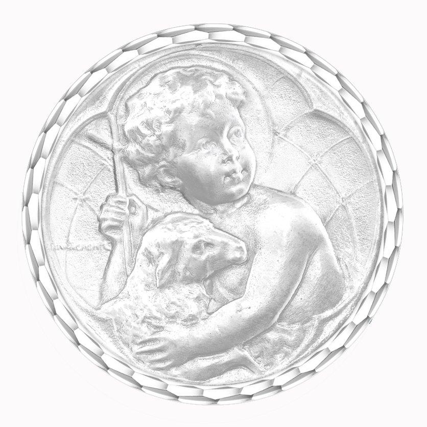 medaille bapteme naissance or blanc 17 mm jesus diveene joaillerie