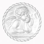 medaille bapteme naissance or blanc 17 mm ange raphael diveene joaillerie