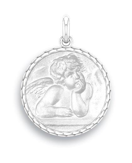 medaille bapteme naissance argent 17 mm ange raphael diveene joaillerie
