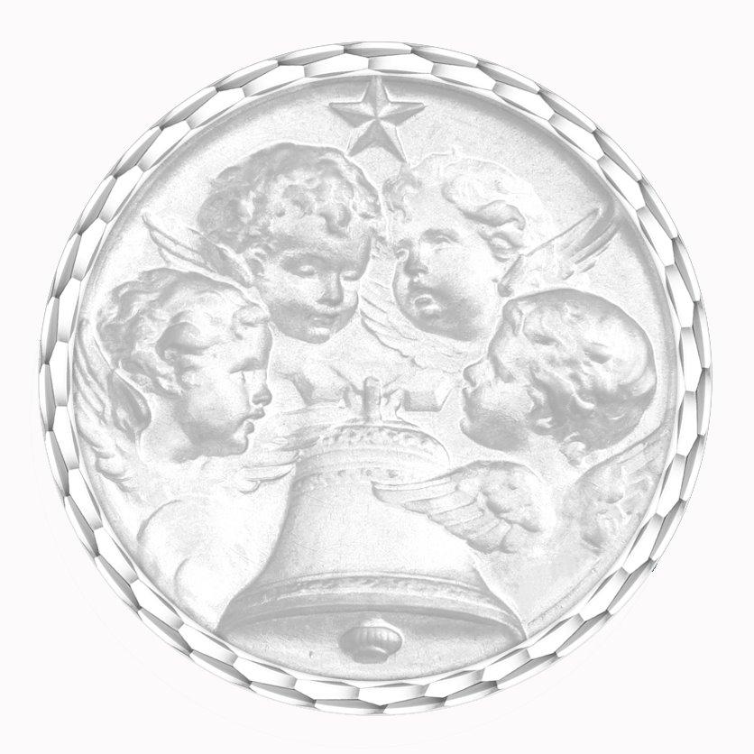 medaille bapteme naissance or blanc 17 mm angelus diveene joaillerie