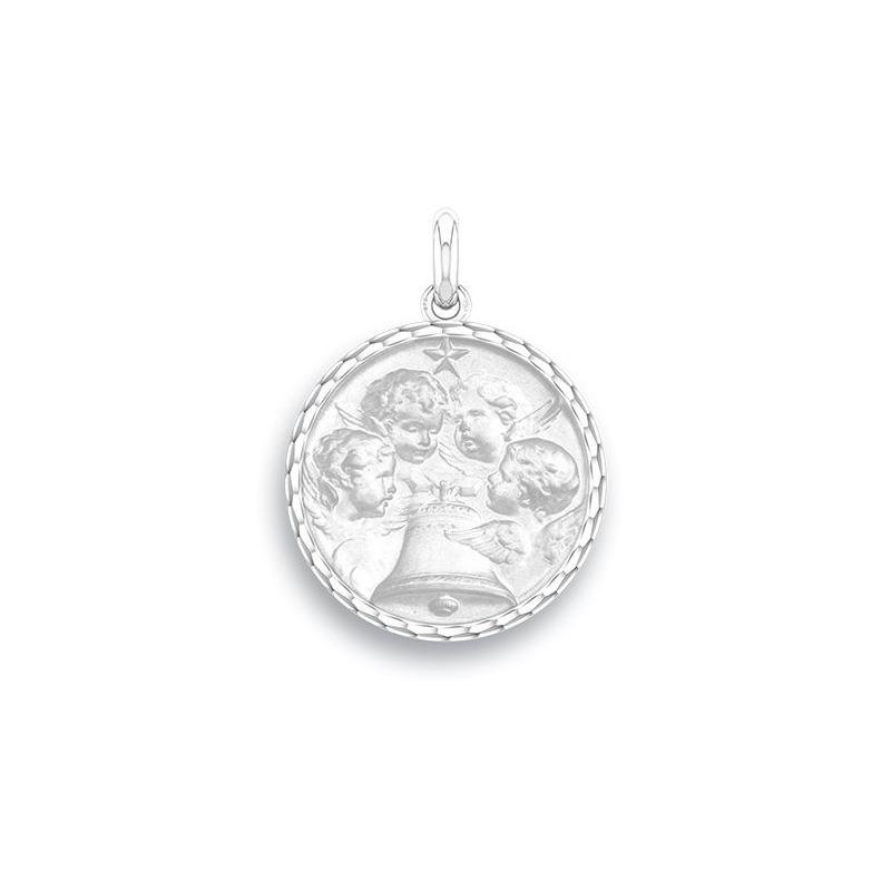 Médaille Baptême Naissance Or blanc , Angélus