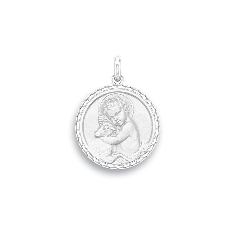 Médaille Baptême Naissance Or blanc , Enfant Jésus