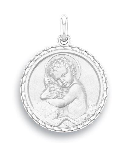 medaille bapteme naissance or blanc 17 mm enfant jesus diveene joaillerie