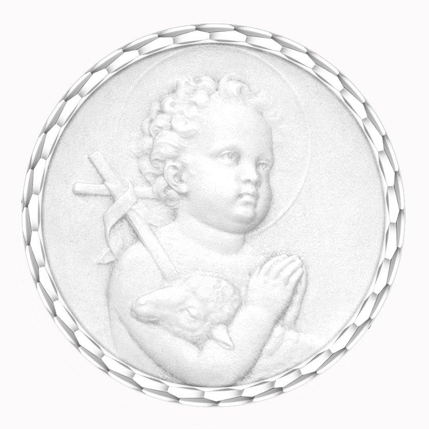 medaille bapteme naissance or blanc 17 mm saint jean diveene joaillerie