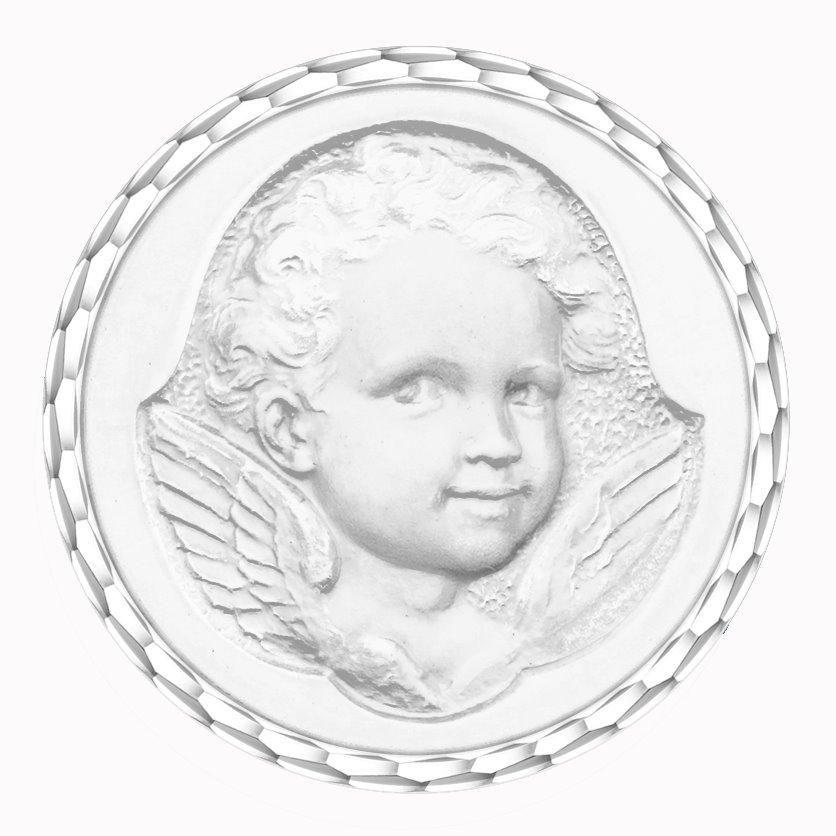 medaille bapteme naissance or blanc 17 mm ange espiegle diveene joaillerie