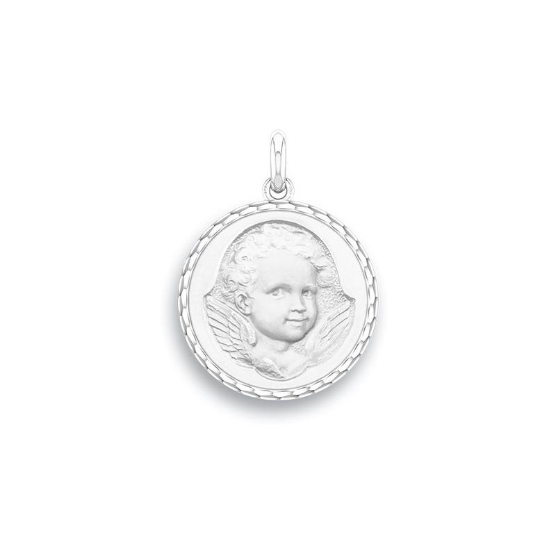 Médaille Baptême Naissance Or blanc , Ange Espiègle