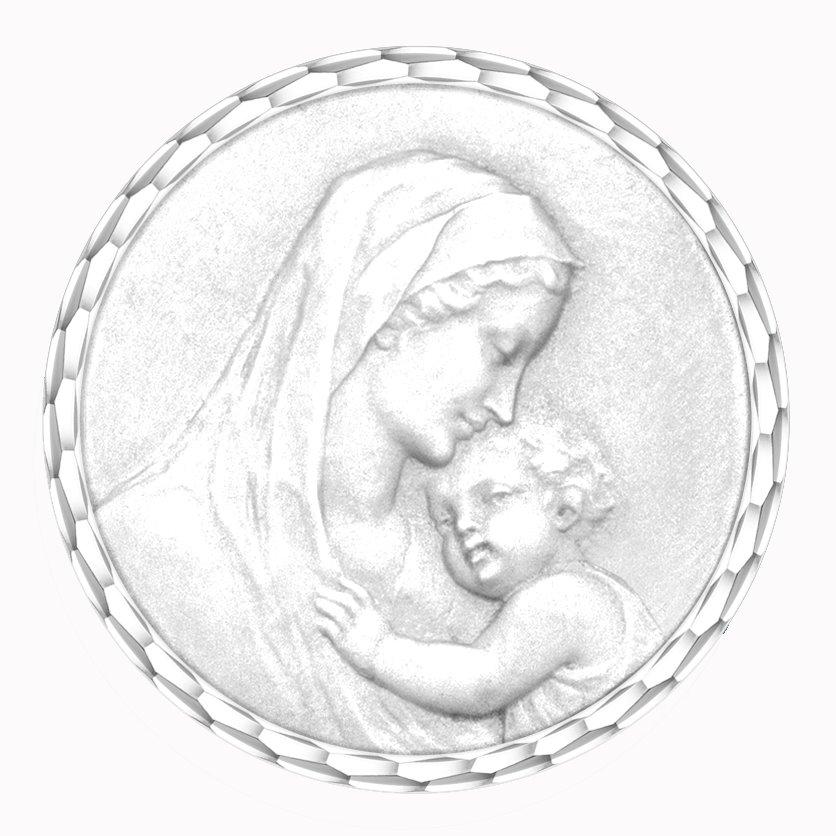 medaille bapteme naissance or blanc 17 mm maternité diveene joaillerie