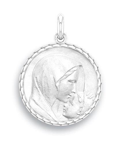 medaille bapteme naissance or blanc 17 mm le baiser diveene joaillerie
