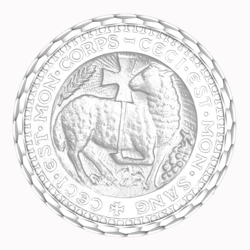 medaille bapteme naissance or blanc 17 mm agneau mystique diveene joaillerie