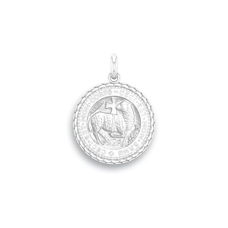 Médaille Baptême Naissance Or blanc , Agneau Mystique
