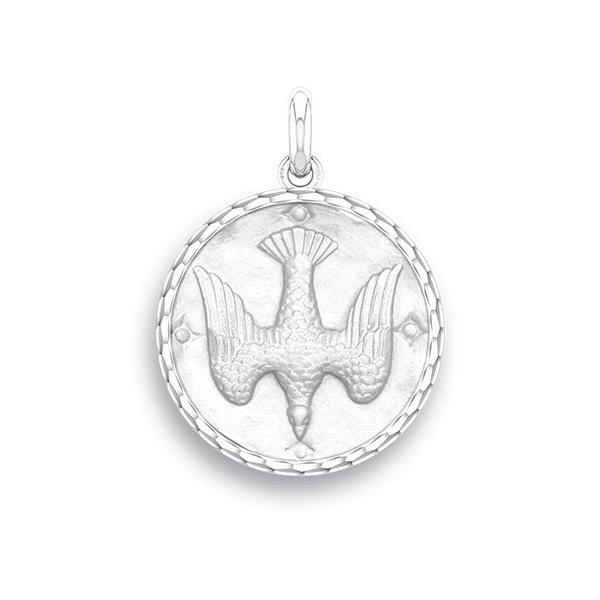 medaille bapteme naissance or blanc 17 mm saint esprit diveene joaillerie