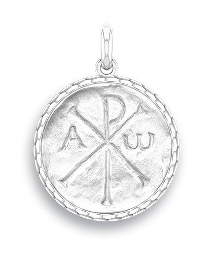 medaille bapteme naissance or blanc 17 mm chrisme diveene joaillerie