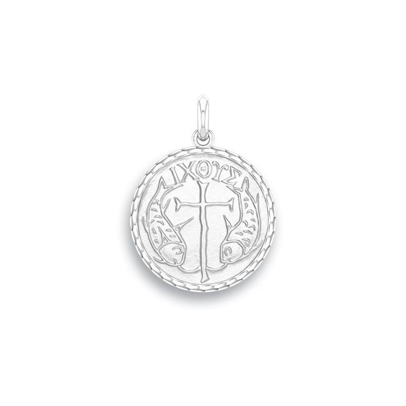 Médaille Baptême Naissance Or blanc , Poissons