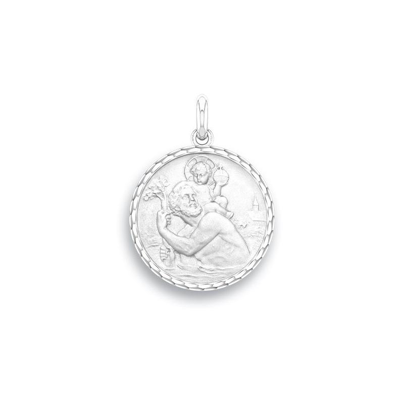 Médaille Baptême Naissance Argent , Saint Christophe