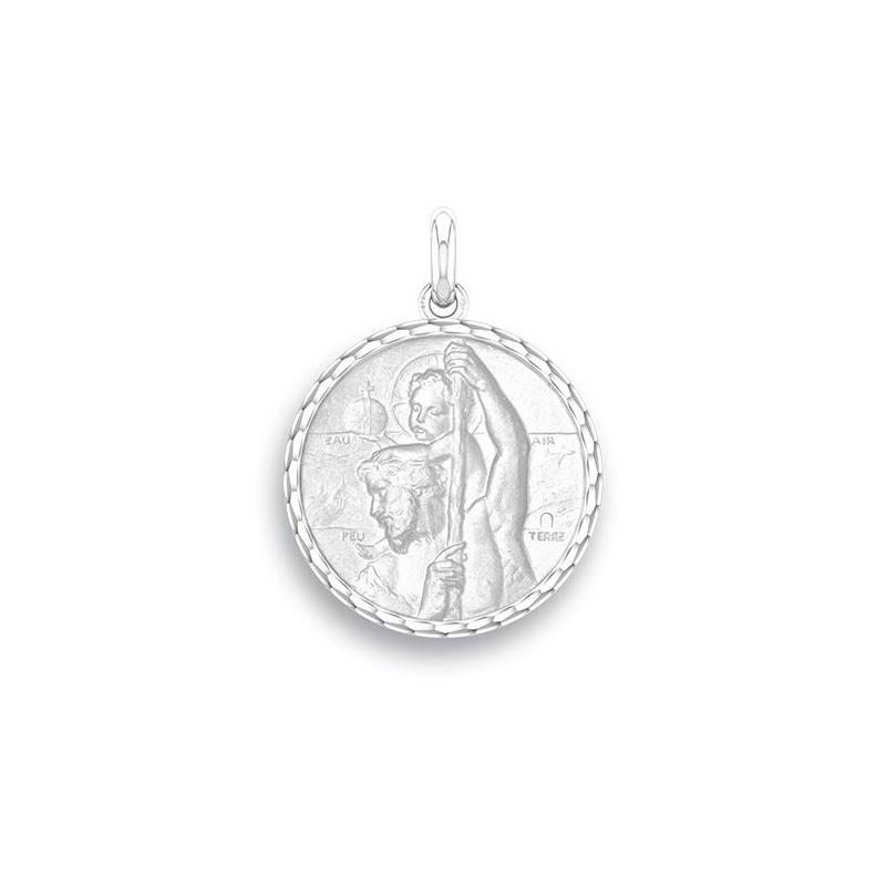 Médaille Baptême Naissance Or blanc , Saint Christophe