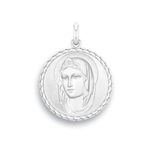 medaille bapteme naissance or blanc 17 mm sainte diveene joaillerie