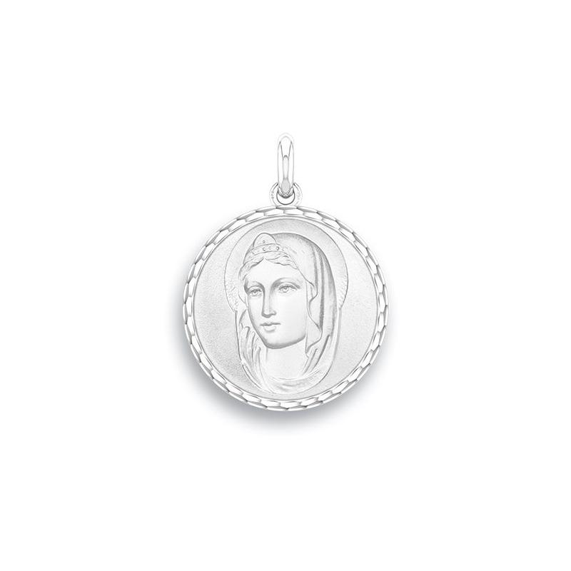 Médaille Baptême Naissance Or blanc , Sainte