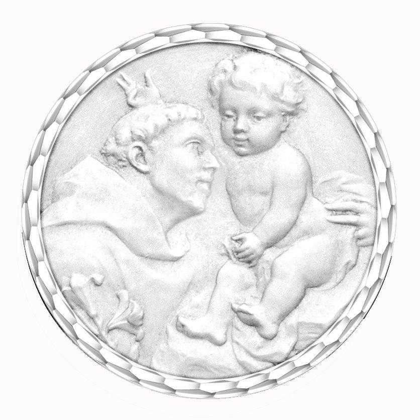 medaille bapteme naissance or blanc 17 mm saint antoine de padoue diveene joaillerie