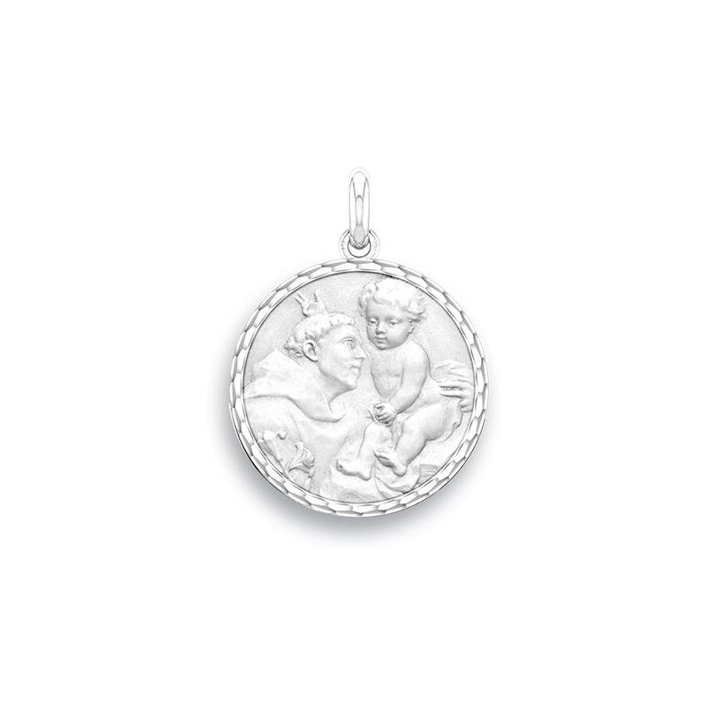 Médaille Baptême Naissance Or blanc , Saint Antoine de Padoue