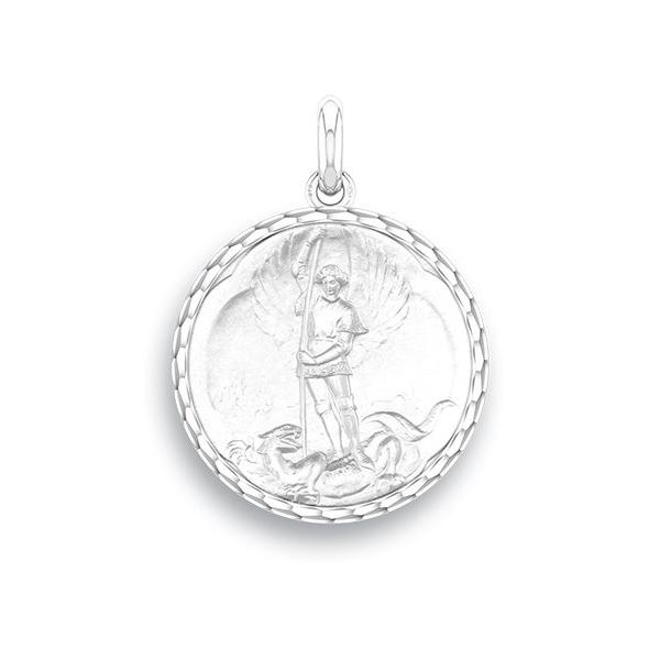 medaille bapteme naissance or blanc 17 mm saint michel diveene joaillerie