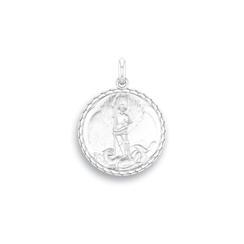 Médaille Baptême Naissance Or blanc , Saint Michel