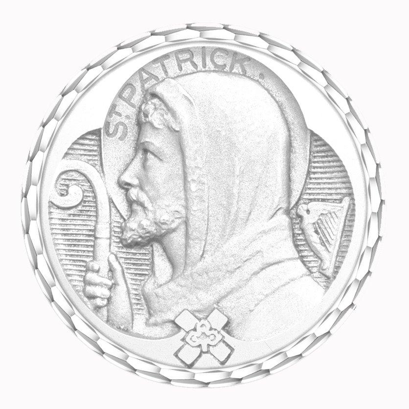 medaille bapteme naissance or blanc 17 mm saint patrick diveene joaillerie