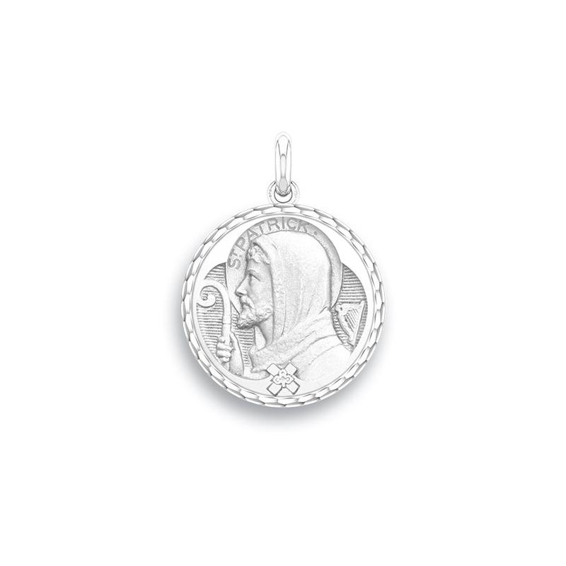 Médaille Baptême Naissance Or blanc , Saint Patrick