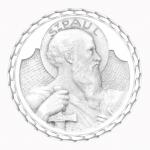 medaille bapteme naissance or blanc 17 mm saint paul diveene joaillerie