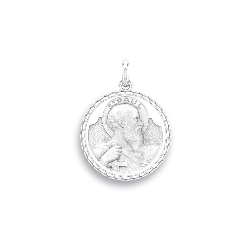 Médaille Baptême Naissance Or blanc , Saint Paul