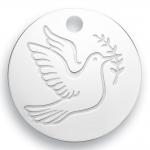 medaille bapteme naissance or blanc 17 mm colombe de la paix diveene joaillerie