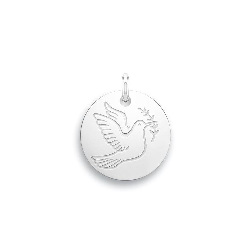 Médaille Baptême Naissance Or blanc , Colombe de la paix