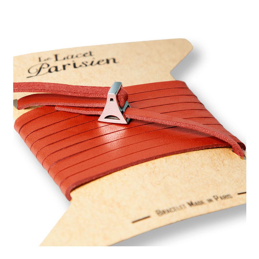 bracelet multi tours cuir et plaque argent le lacet parisien valentine diveene joaillerie bracelet rouge