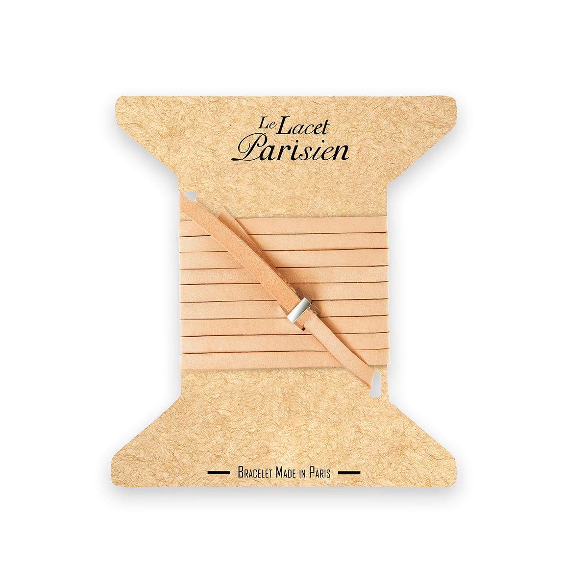 bracelet multi tours cuir et plaque argent le lacet parisien valentine diveene joaillerie bracelet chair