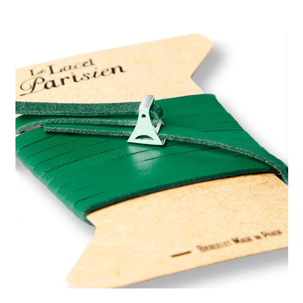 bracelet multi tours cuir et plaque argent le lacet parisien valentine diveene joaillerie bracelet vert