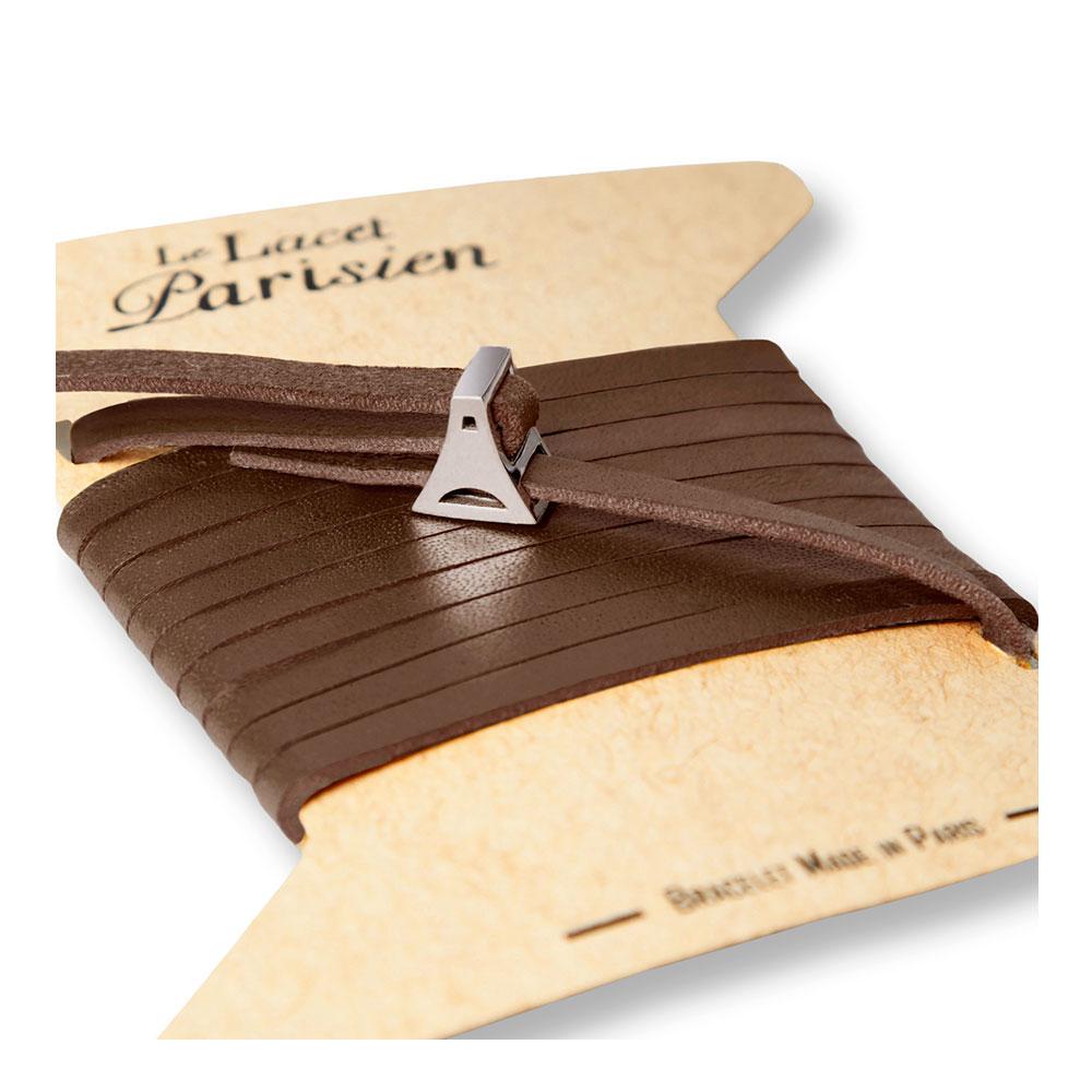 bracelet multi tours cuir et plaque argent le lacet parisien valentine diveene joaillerie bracelet marron