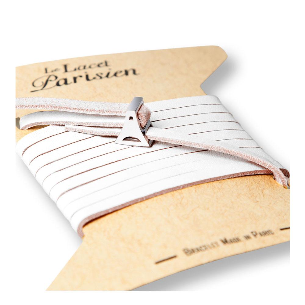 bracelet multi tours cuir et plaque argent le lacet parisien valentine diveene joaillerie bracelet blanc