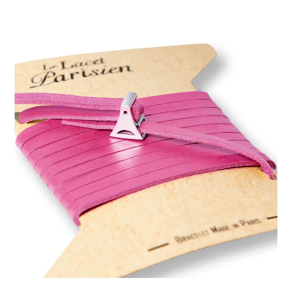bracelet multi tours cuir et plaque argent le lacet parisien valentine diveene joaillerie bracelet rose