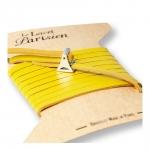 bracelet multi tours cuir et plaque argent le lacet parisien valentine diveene joaillerie bracelet jaune